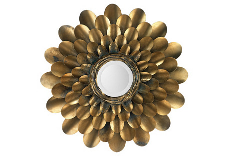 Bouquet Sunburst Mirror, Brass