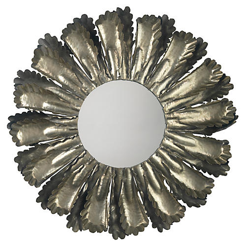 "Harvest 35"" Wall Mirror, Antiqued Silver"