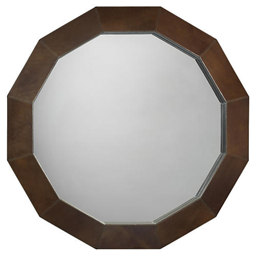"Facet 36"" Wall Mirror, Olive"