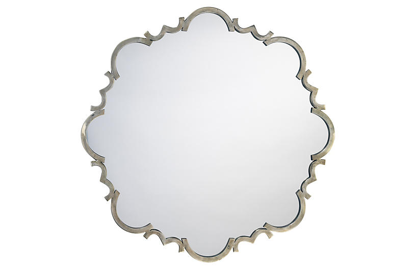 St. Albans Wall Mirror, Antiqued Silver