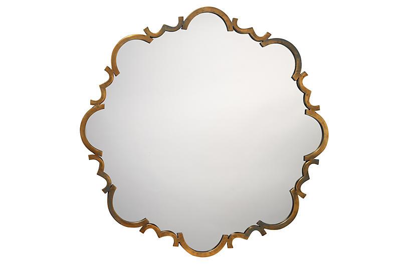 Scalloped Design Mirror, Gold