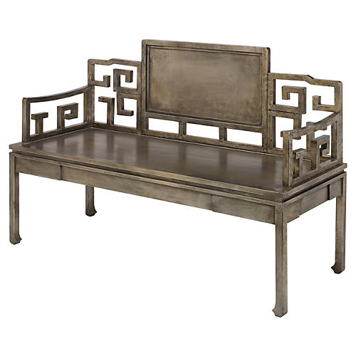 "Dream 51"" Settee, Antiqued Silver"