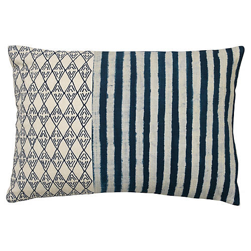 Kozu 12x18 Cotton Pillow, Blue