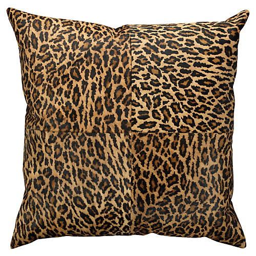 Leopard 24x24 Hide Pillow, Brown