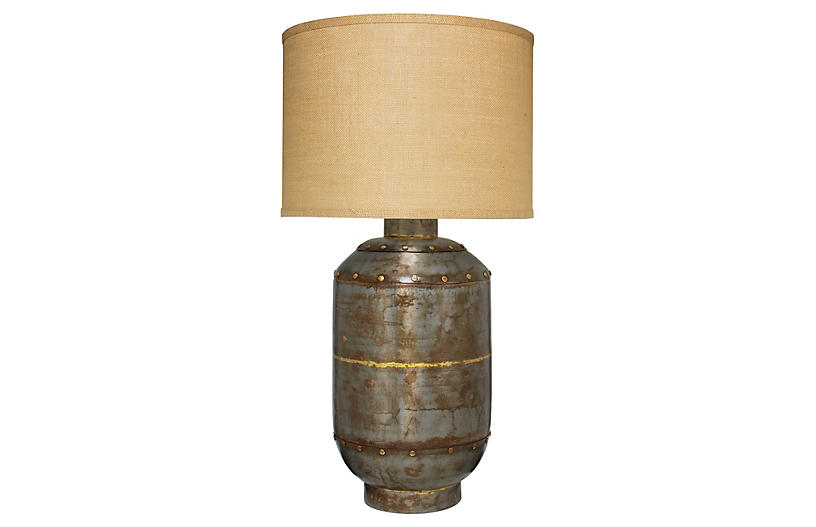 Caisson Hammered Table Lamp, Gunmetal