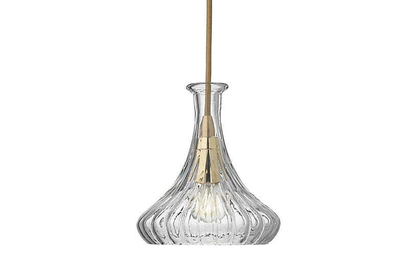 Isabella Carafe Pendant, Clear/Brass