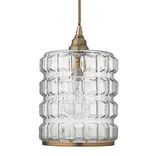 Madison Pendant, Clear/Antiqued Brass
