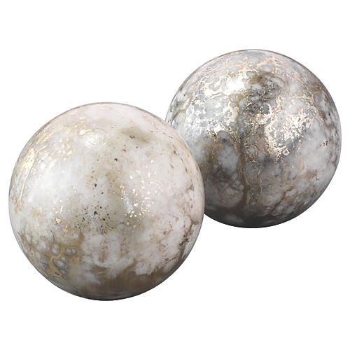 S/2 Marble Orb Bookends, Silver/Gold