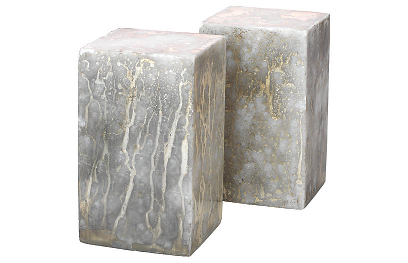 S/2 Marble Slab Bookends, Marble