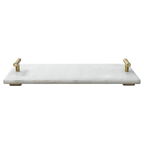 "12"" Marble Carter Tray, White"
