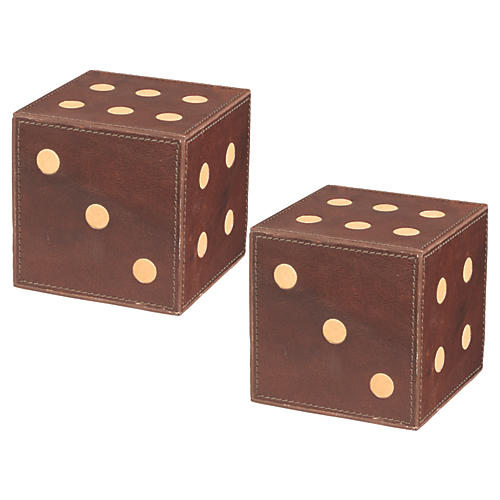 S/2 Leather Dice, Tobacco/Cream