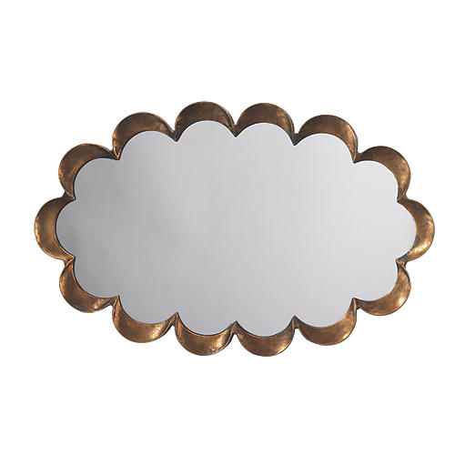 Scalloped Wall Mirror, Antiqued Gold