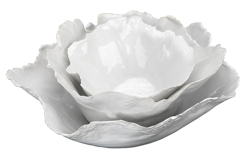 Asst. of 3 Fleur Bowls, White