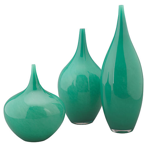 Asst. of 3 Nymph Glass Vases, Emerald
