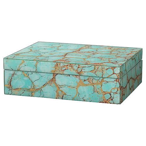"""10"""" Pebble Box, Turquoise Pebble"""