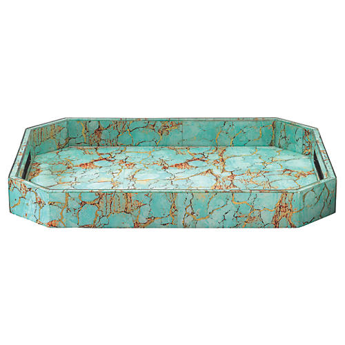 "18"" Octave Tray, Turquoise Pebble"