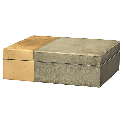 "10"" Raymond Faux-Shagreen Box, Gray"