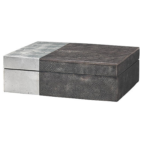 "10"" Raymond Faux-Shagreen Box, Black/Silver"