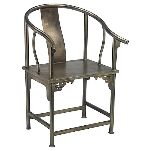 Ming Accent Chair, Antiqued Silver