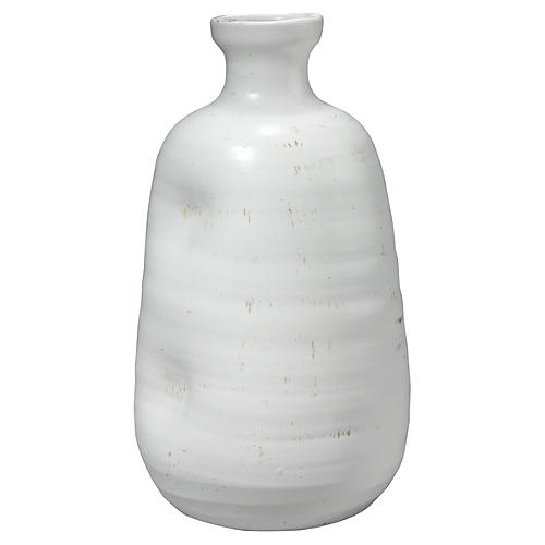 """14"""" Dimple Wide Vase, White"""