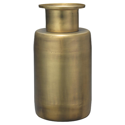 "12"" Hera Vase, Antiqued Brass"