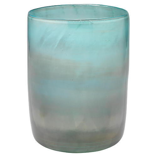 "11"" Vapor Medium Vase, Metallic Aqua"