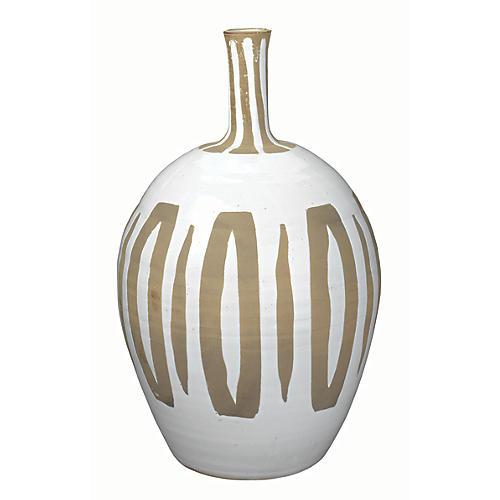 """20"""" Kindred Vase, Beige/White"""