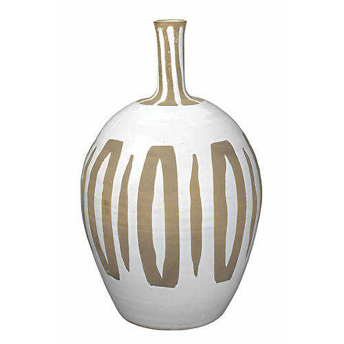 "20"" Kindred Vase, Beige/White"