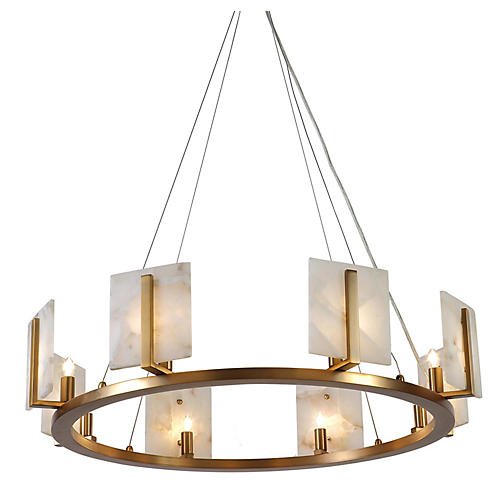 Halo Alabaster Chandelier, Natural/Brass