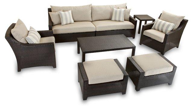 Slate 7-Pc w/ Sofa, Club Chair, Ottomans