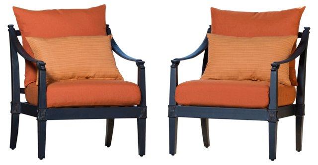 Orange Bliss Club Chairs, Pair
