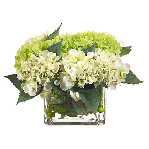 """14"""" Hydrangea Row in Vase, Faux"""