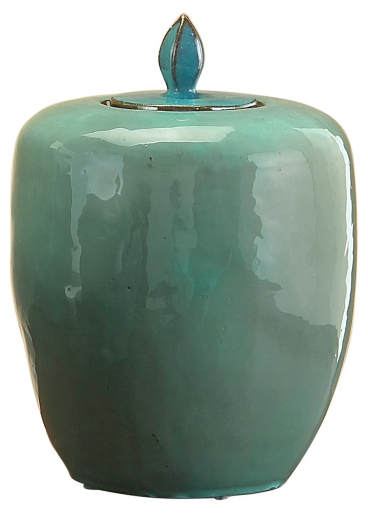 "14"" Ceramic Urn w/ Lid, Teal"