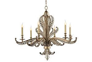 Beaded 6-Light Chandelier, Silver*