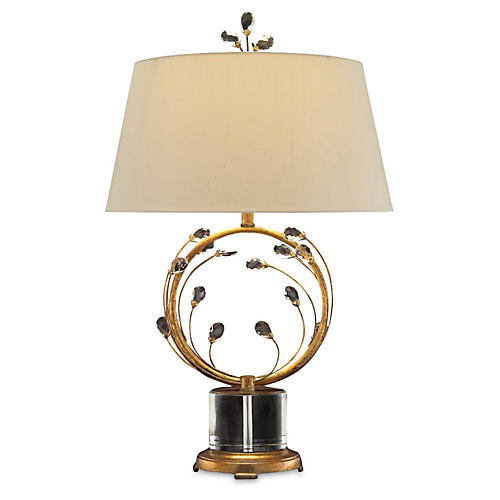 Crystal Blooms Table Lamp, Gold