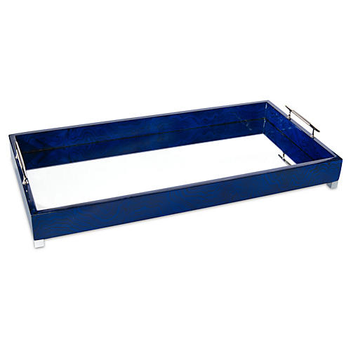 "24"" Nickel Tray, Indigo Blue"