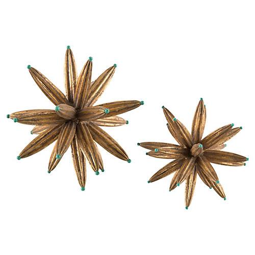 Asst. of 2 Golden Sprites w/ Aqua Beads