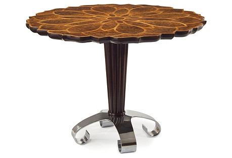Lotus Accent Table, Golden Madrona Burr