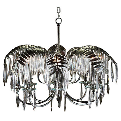 Palm Leaf 8-Light Chandelier, Nickel