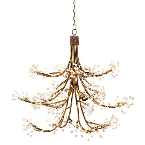 16-Light Halogen Chandelier, Gold