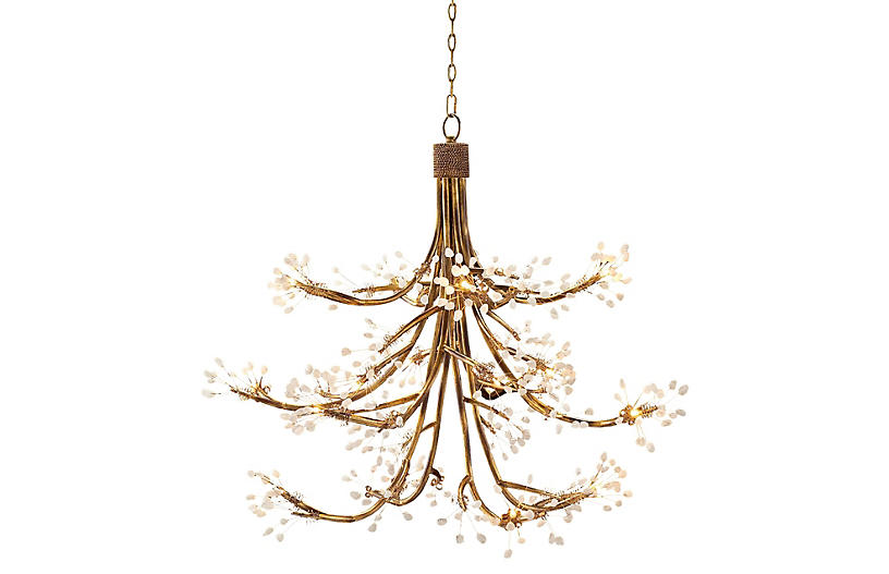 16-Light Halogen Chandelier - Gold - John-Richard