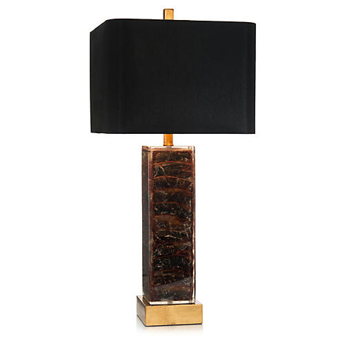 Square Table Lamp, Tortoise