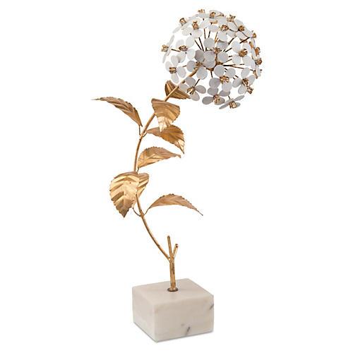 "21"" Hydrangea Figurine on Marble Base"
