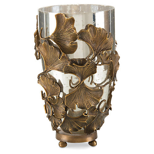 "18"" Ginkgo Accent Vase, Brass"
