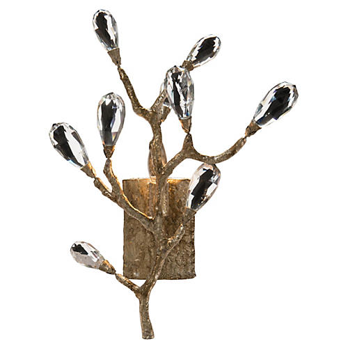 Budding Crystal 1-Light Sconce, Silver