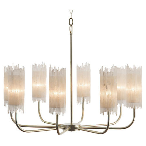 Natural Shaded Chandelier, Silver Leaf