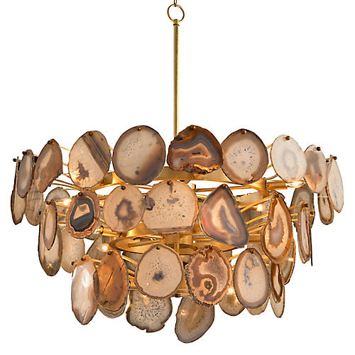 Agate Sliced Chandelier, Gold Leaf