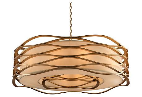 Ribbons 12-Light Pendant, Gold Leaf