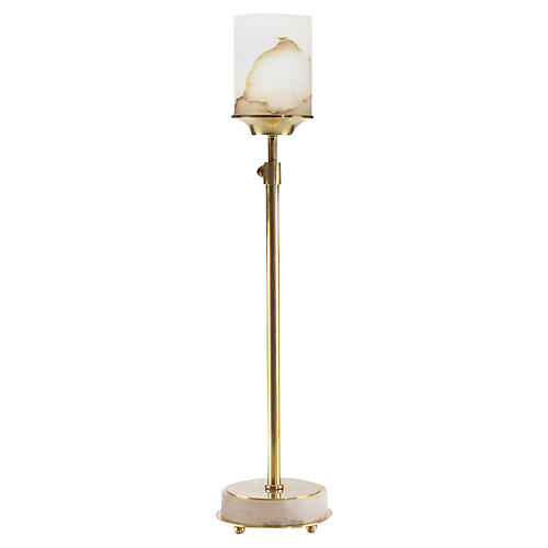 Alabaster Buffet Lamp, Brass