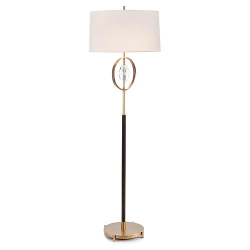 Crystal Accented Floor Lamp, Brass